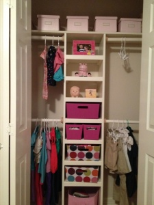 Hubby added a low bar to hold in season clothes. Pull out bins hold socks, leggings, underwear, PJS, and shoes. Outfits are hung together on one hanger to make getting dressed easier.