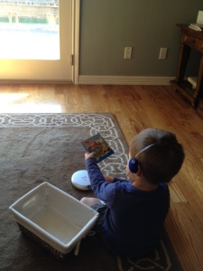 My son uses the listening station this past weekend.