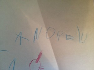 This is how my son writes his name at a little over 3 years old. I have a theory that so many boys have horrible handwriting because they wait to long to be introduced to it.