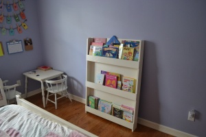 My daughter's completed shelf. We were able to use leftover paint we had in the garage which kept our cost down.