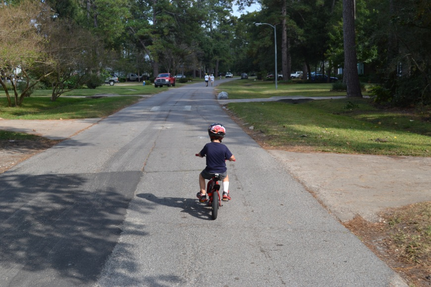 "My 3 year old on his first day of ""real"" bike riding."