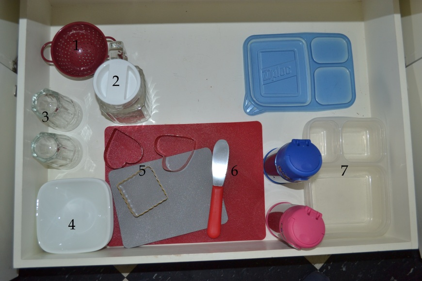 1. small collendar for washing fruit 2. small picture. find it here.  3. small water glasses 4. snack bowls 5. cutting boards and cookie cutters for sandwiches. 6. spreader. find a similar one here. 7. reusable water bottles and our Ziploc lunch containers.
