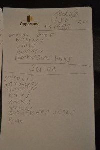 My daughter's shopping list.